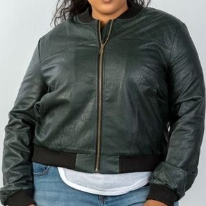 Jackets & Blazers - plus size fully lined peacock pleather bomber jack